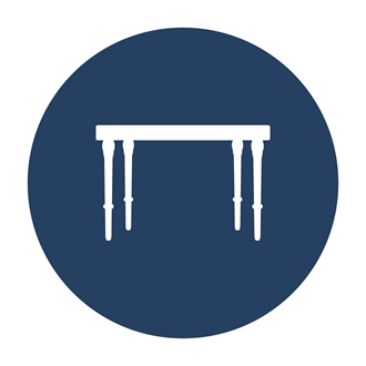 A blue and white logo with a table in the center of the logo