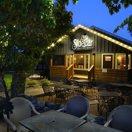 The outside front porch are of Sidecar Tasting Room.