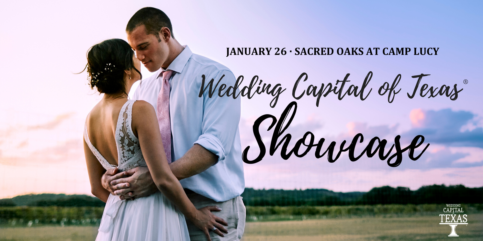 "A man and a woman embracing with the words ""Wedding Capital of Texas Showcase"""