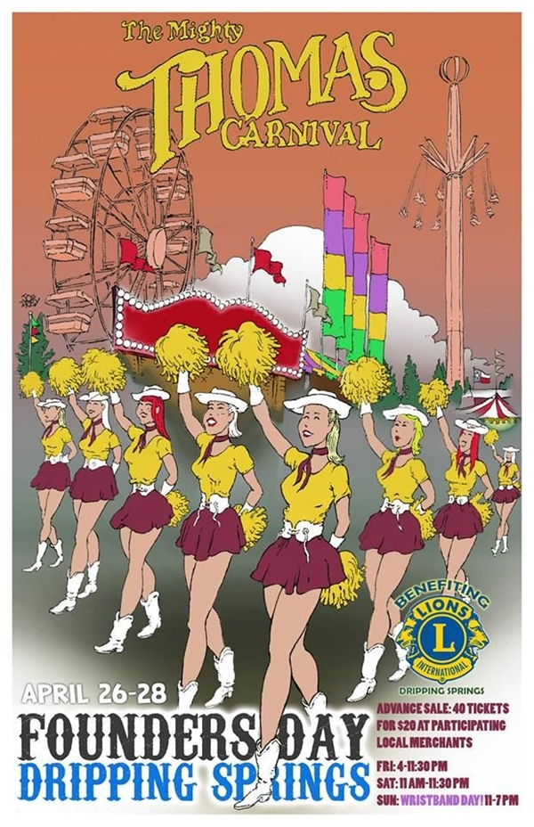 an illustrative poster with high steppers with poms poms