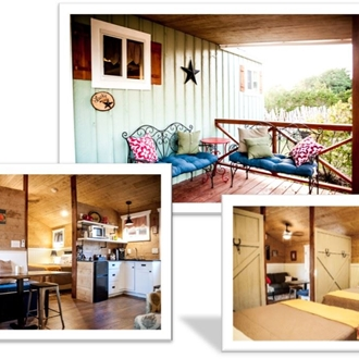 A collage of photos of the cottages at the Alexander at Creek Road
