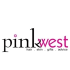 A logo with the words Pink West