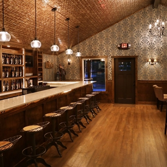 The inside of the Prohibition style wine bar and tasting room.