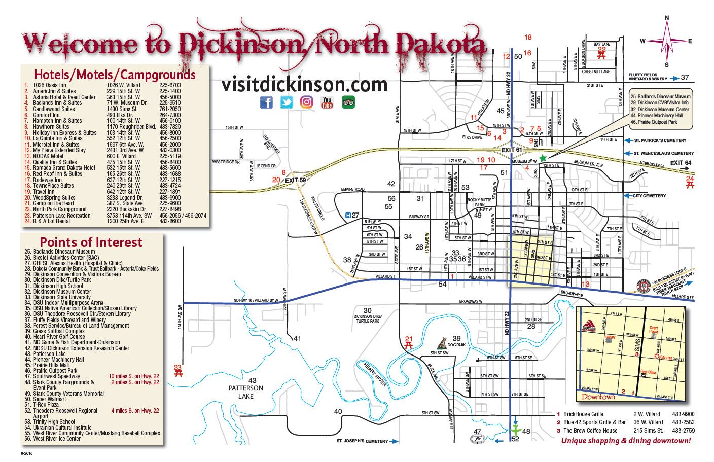 Find lodging, attractions, dining, city information, and more on our map of Dickinson, North Dakota.