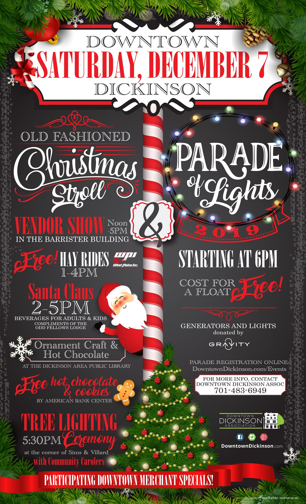 Old Fashioned Christmas Stroll & Parade of Lights - Dec. 7, 2019 - Dickinson, ND