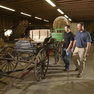 The Pioneer Machinery Hall features early ranching and agricultural objects from Stark County in Dickinson, ND.