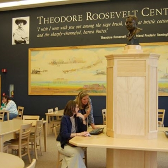 The Theodore Roosevelt Center is located in Dickinson State University's Stoxen Library in Dickinson, ND. The center houses a comprehensive digital presidential library of personal letters, diary entries, notes, cartoons, and more.