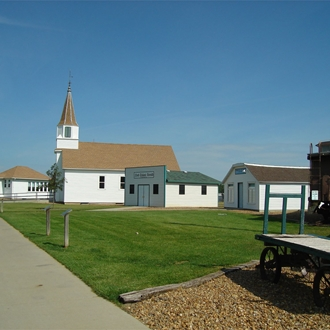 Prairie Outpost Park consists of five historic and six reproduction buildings in Dickinson, ND.