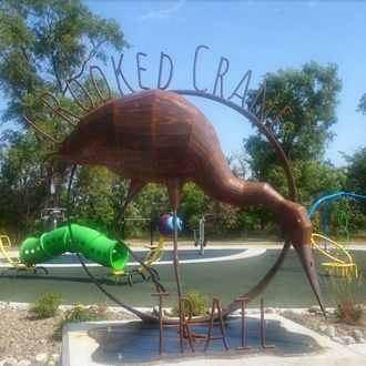 The Crooked Crane Trail is located at Patterson Recreational Area and is maintained by Dickinson Parks & Recreation in Dickinson, ND.