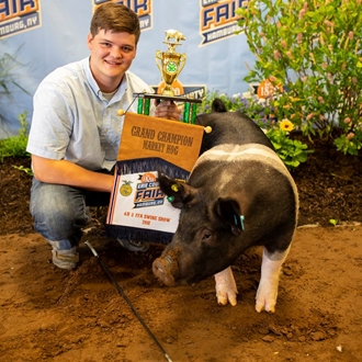Photo of 4-H & FFA Swine Show with boy and his pig