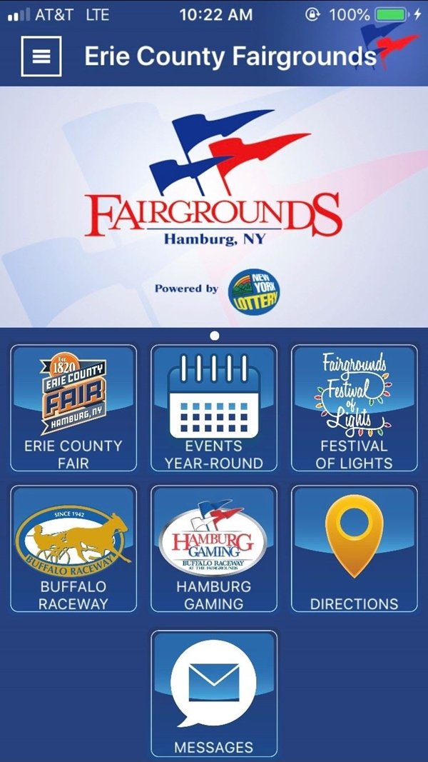 Screenshot of the Fairgrounds App  home page