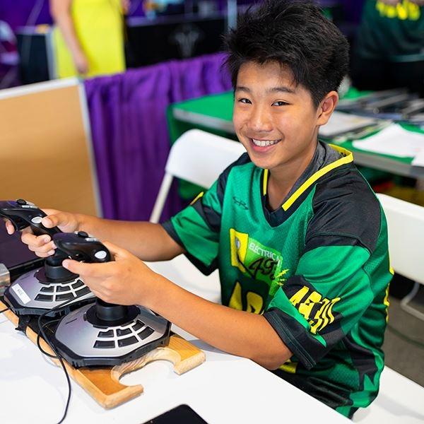 Boy with joysticks