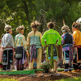 photo of the Nya:Weh Indian Village dancers