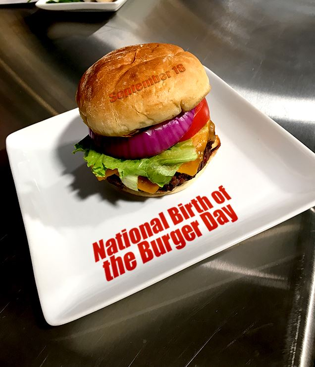 Birth of the burger day graphic