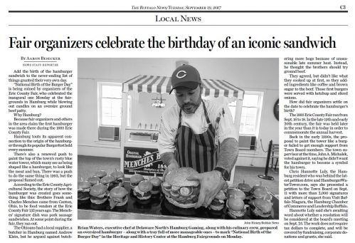 Newspaper article on the Birth of the Burger