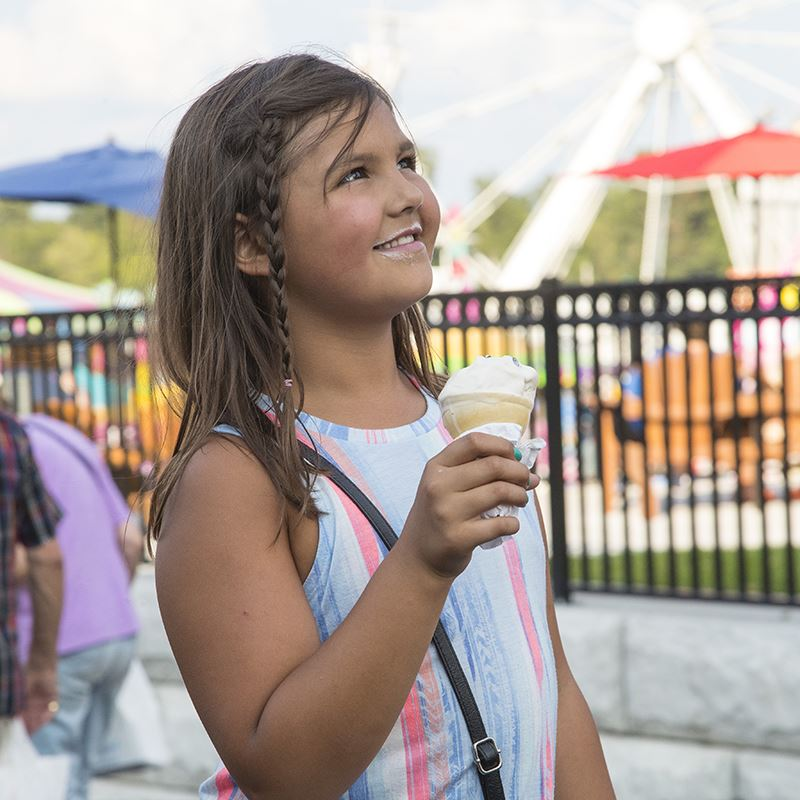 Girl eating an ice cream cone