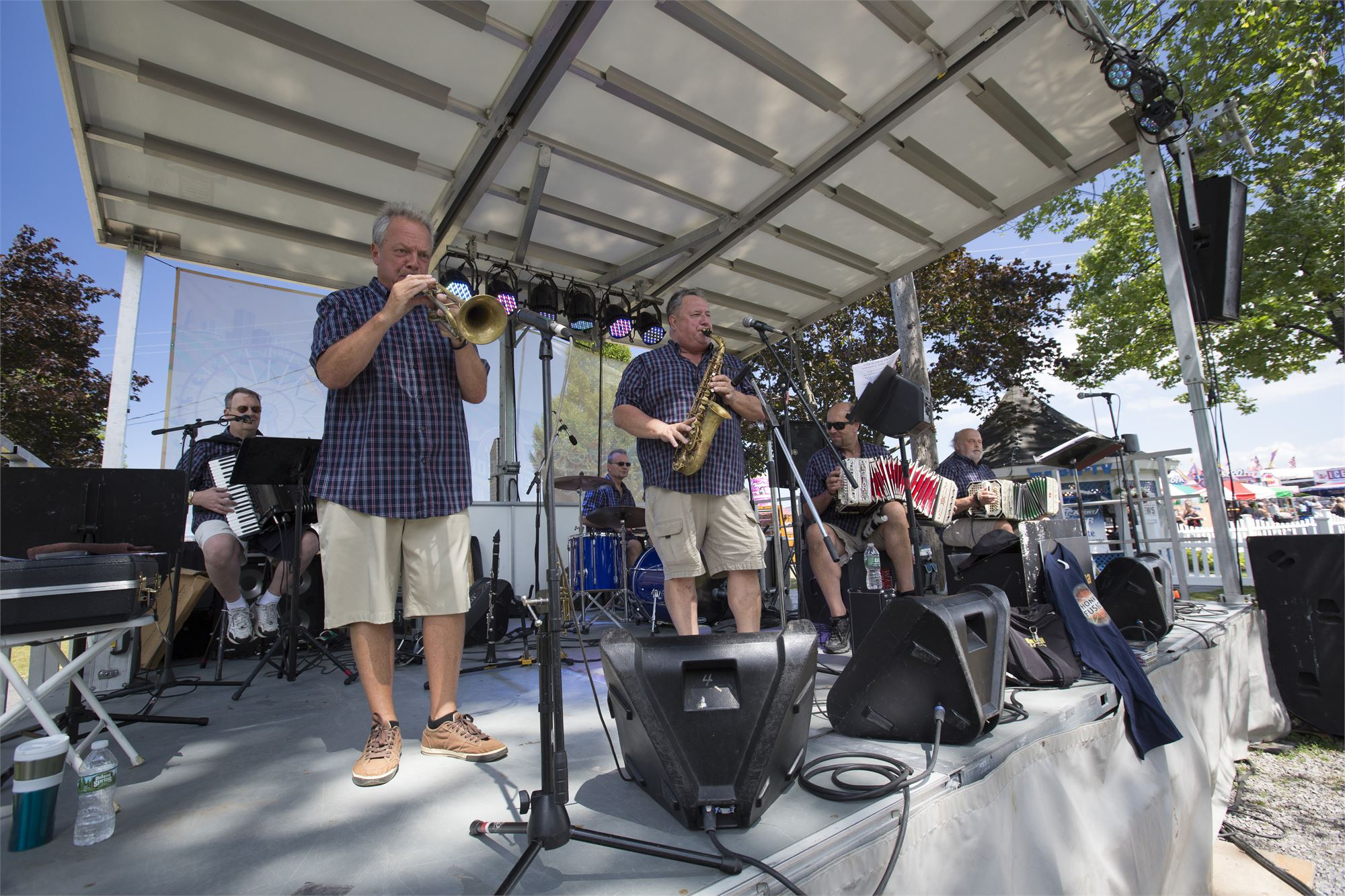 Photo of a band playing on the Slade Park Stage