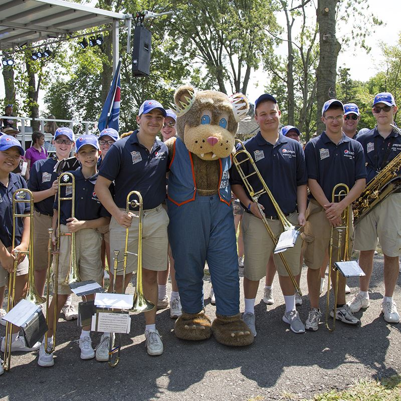 Fair Bear with the Marching band