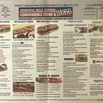 Fountain Hills Express Deli Menu