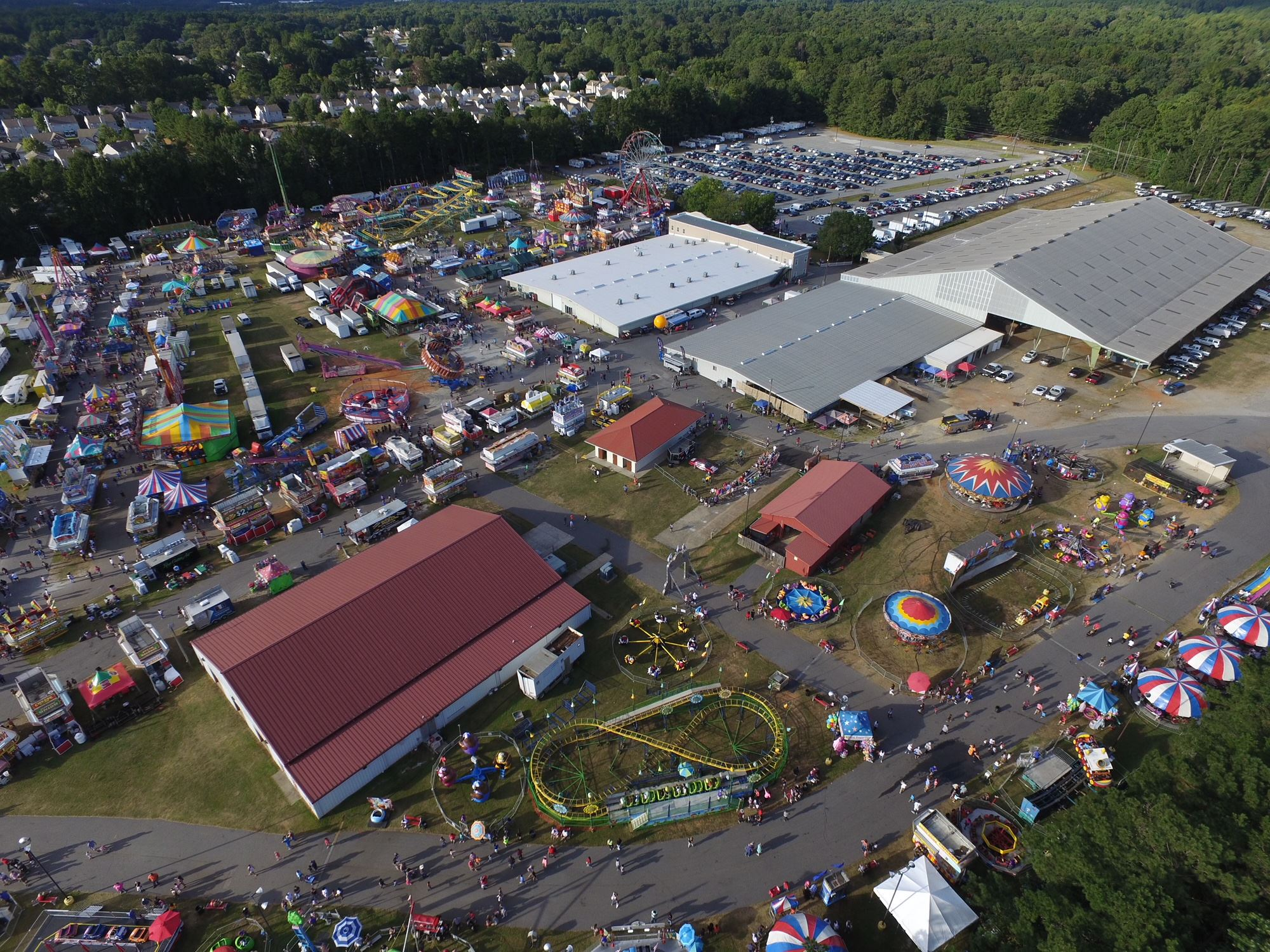 Drone shot of the fair from 500 feet up