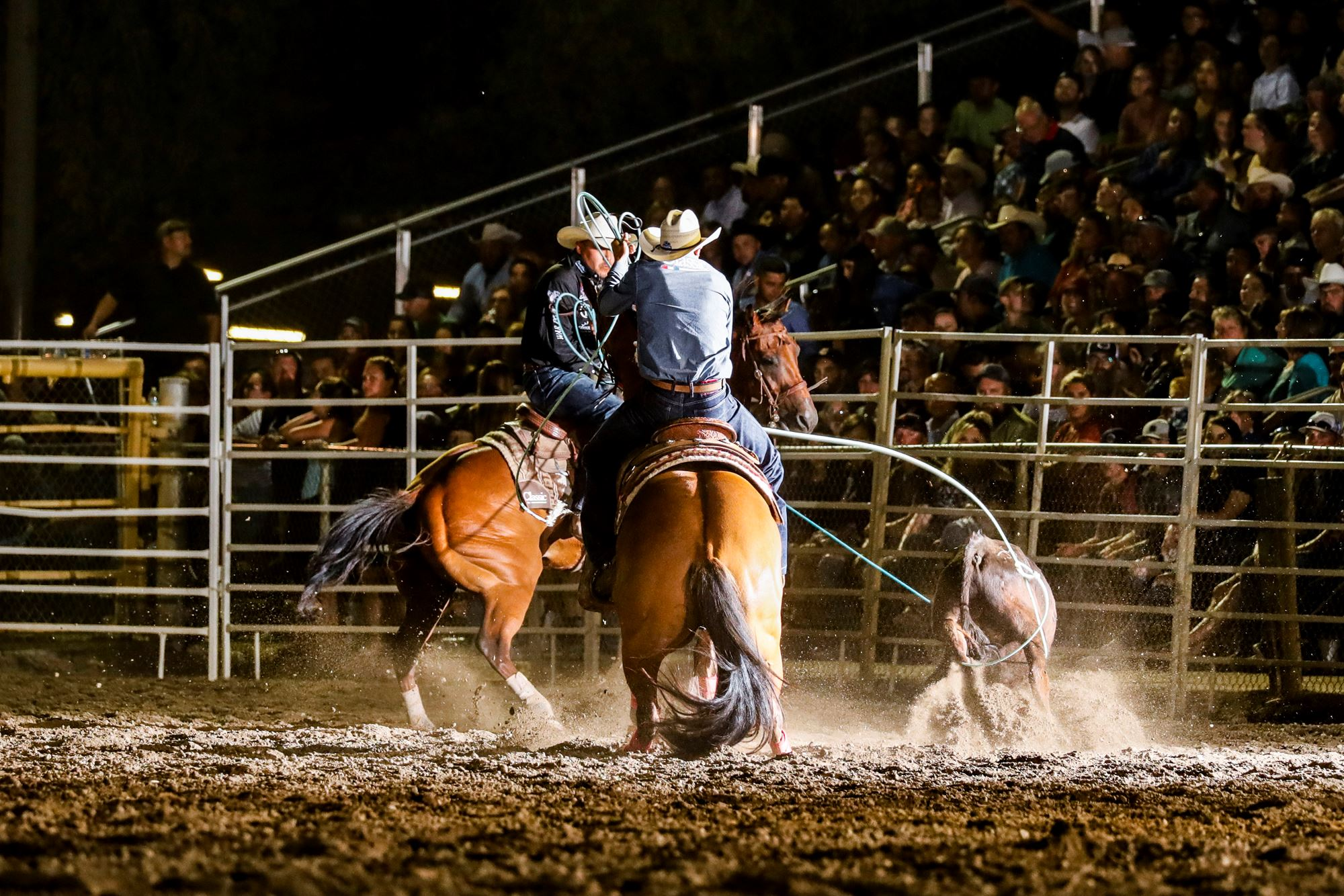Erich Rogers and Paden Bray team roping
