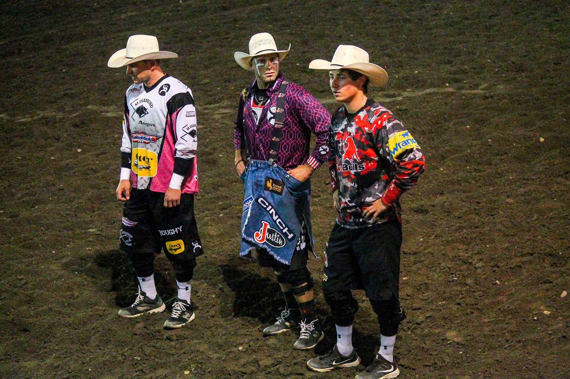 Bullfighters Nate Jestes, Dusty Tucjness, and Miles Barry