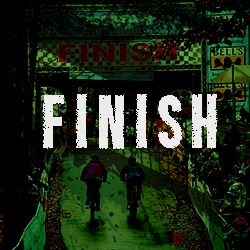 Square Photo of Finish line with Finish text and Hyperlink to Finish Line information