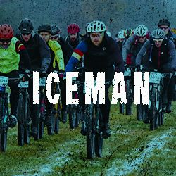 Photo of Iceman riders with Iceman as a text overlay and a link to the Iceman information page
