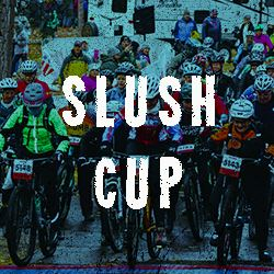 Photo of slush cup riders with a text overlay that says slush cup and link to the Slush Cup information page