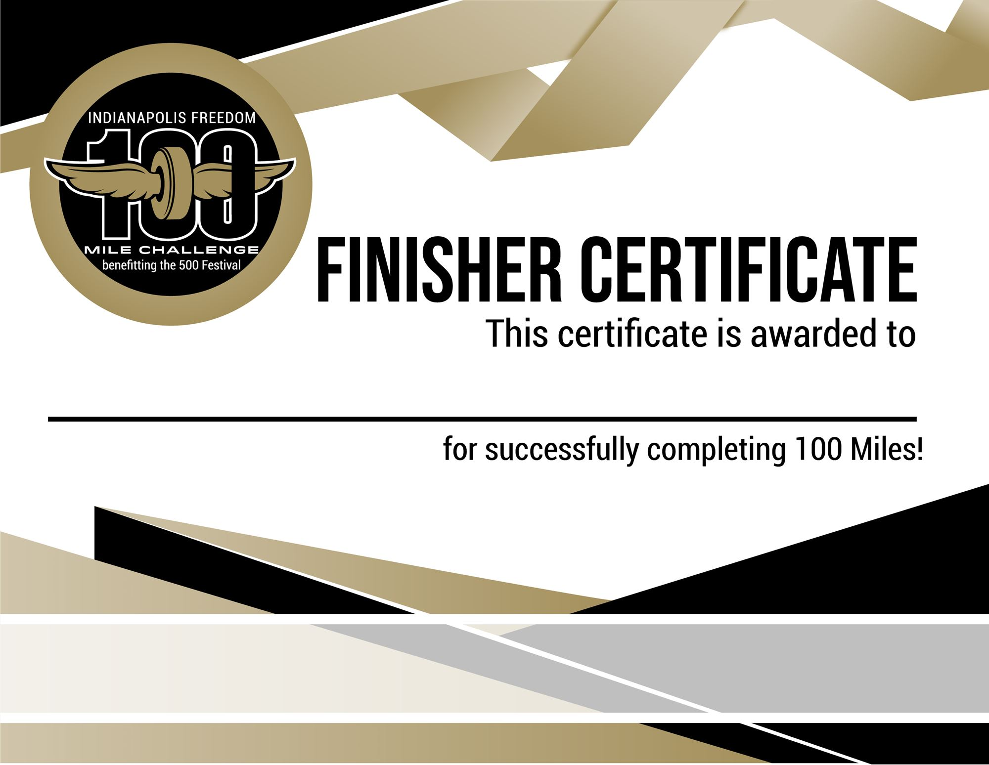 100 Mile Finisher Certificate