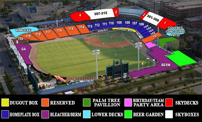 Seating Chart of 121 Financial Ballpark