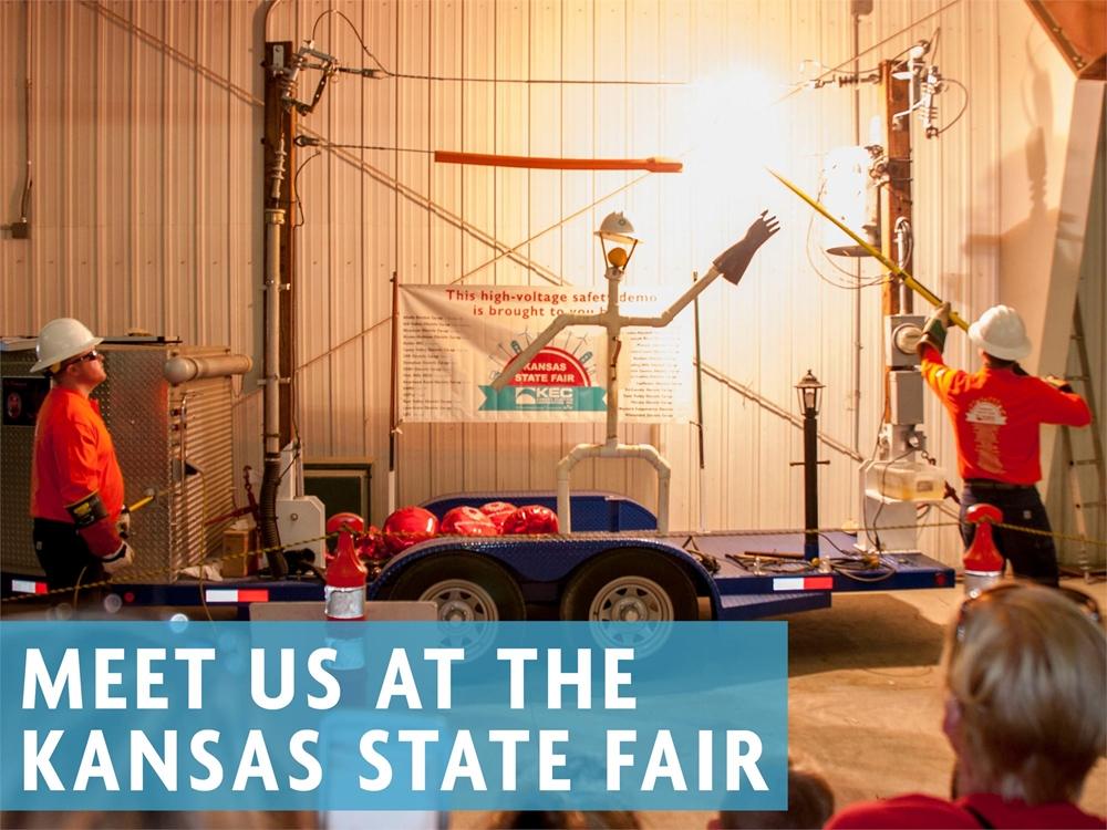 Join the Kansas electric co-ops and the Touchstone Energy co-ops of Kansas at the Kansas State Fair on Sept. 11-15, from 9 a.m. to 1 p.m. for a free high-voltage line safety demo. Look for us in the Ad Astra building, next to the Oz Gallery.