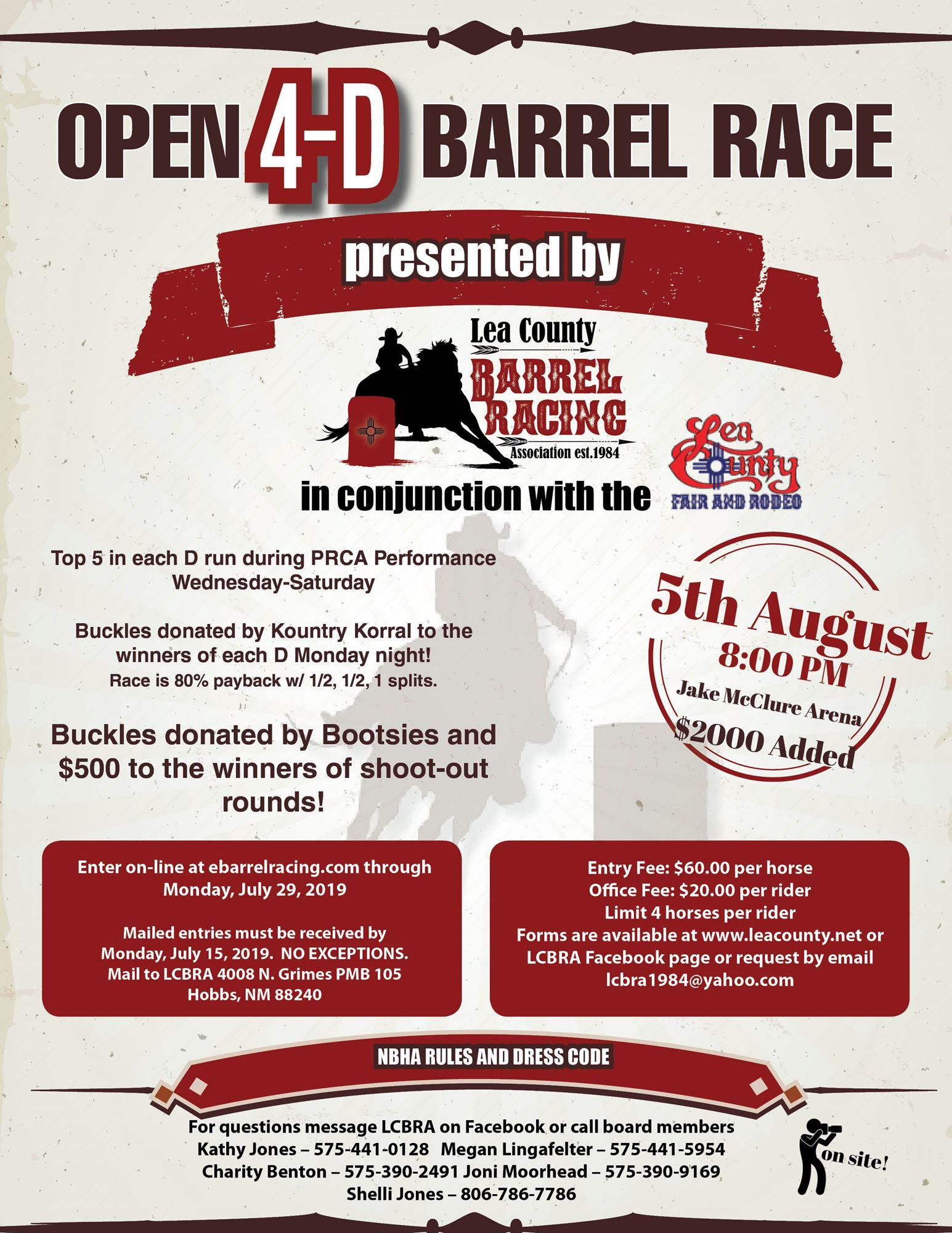 Open 4-D Barrel Race presented by LCBRA