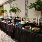 Tables with multiple different types of cakes are against the wall. Hanging plants look over the tables.