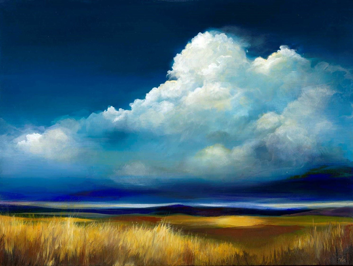 A painting of a dark blue sky with a large cloud billowing up.  The ground is a field of golden straw.