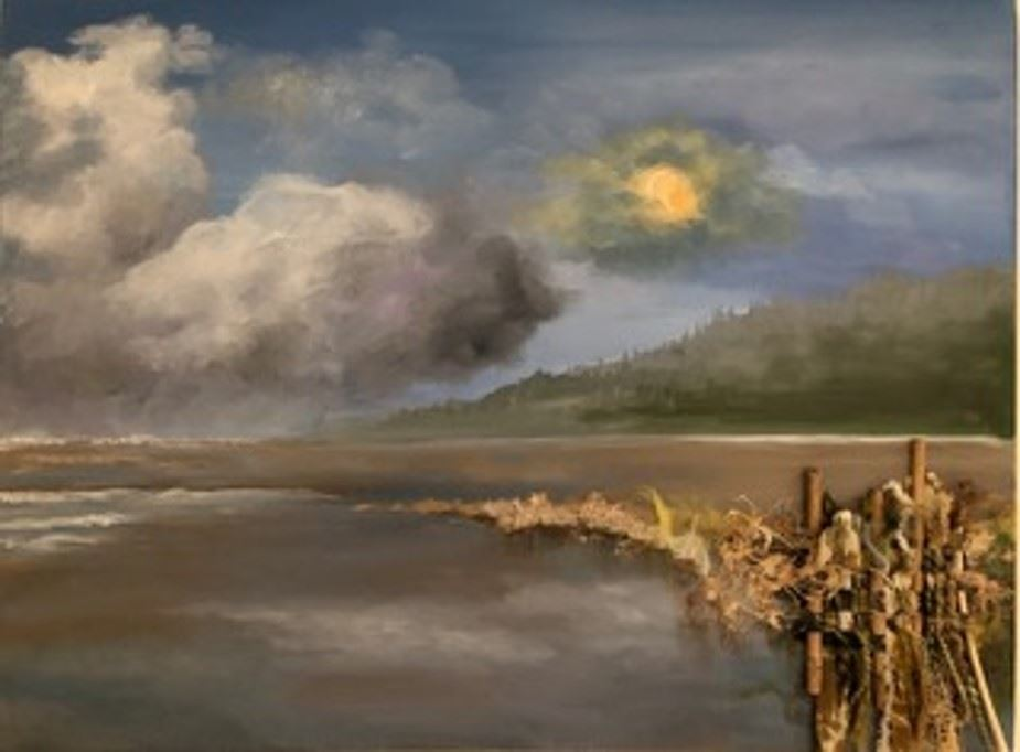 A painting of the water front on a long sandy beach.  Driftwood stnads in teh forground as the sane streches behind it.  A green mountain rises in the distance on a partly cloudy day.