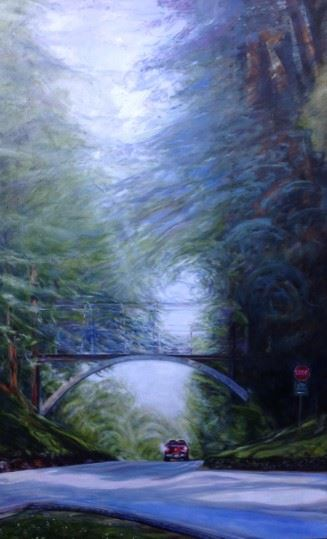 A painting looking down a street towards a pedestrian bridge as tall trees grow on either side diminishing the sunlight trying to break through above.