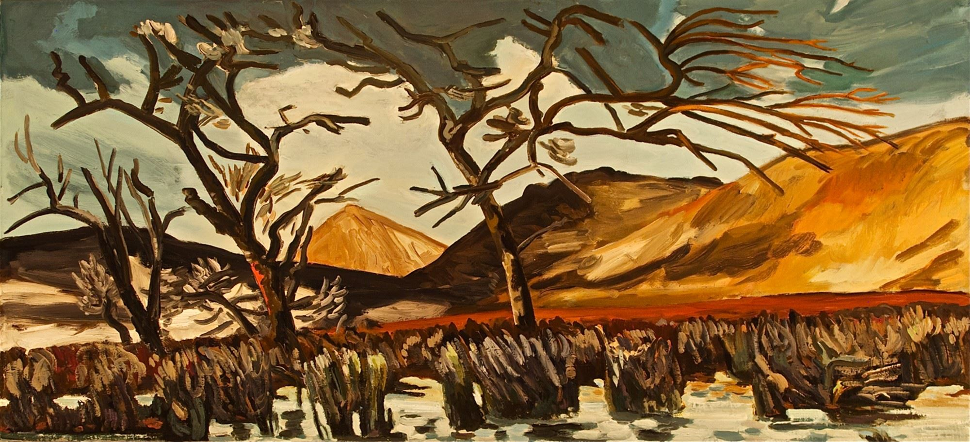 A painting of a desert landscape with bare trees surrounded by dark brush.  The bare hillside is int eh background.