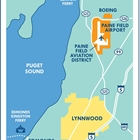 Map of the Lynnwood area. Edmonds and Mukilteo also shown on the map. Paine Field Airport predominately displayed