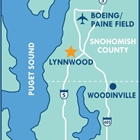 Map of the Lynnwood area. The Convention Center is represented by a star, and the Paine Field Airport is shown.
