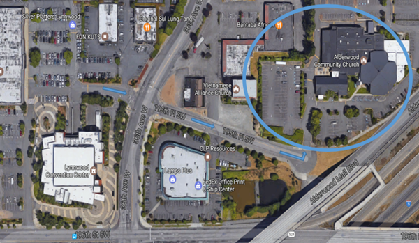 Birds eye view of the Convention Center and surrounding area. The Alderwood Community Church is circled.