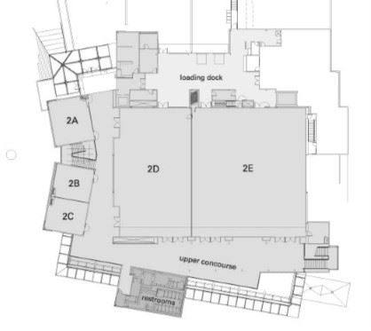 Upper floor diagram of the Lynnwood Convention Center.