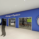 Artist rendering of an entryway and reception desk