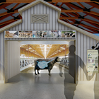 Artist rendering of a museum exhibit featuring a cow with an illustrated digestive tract