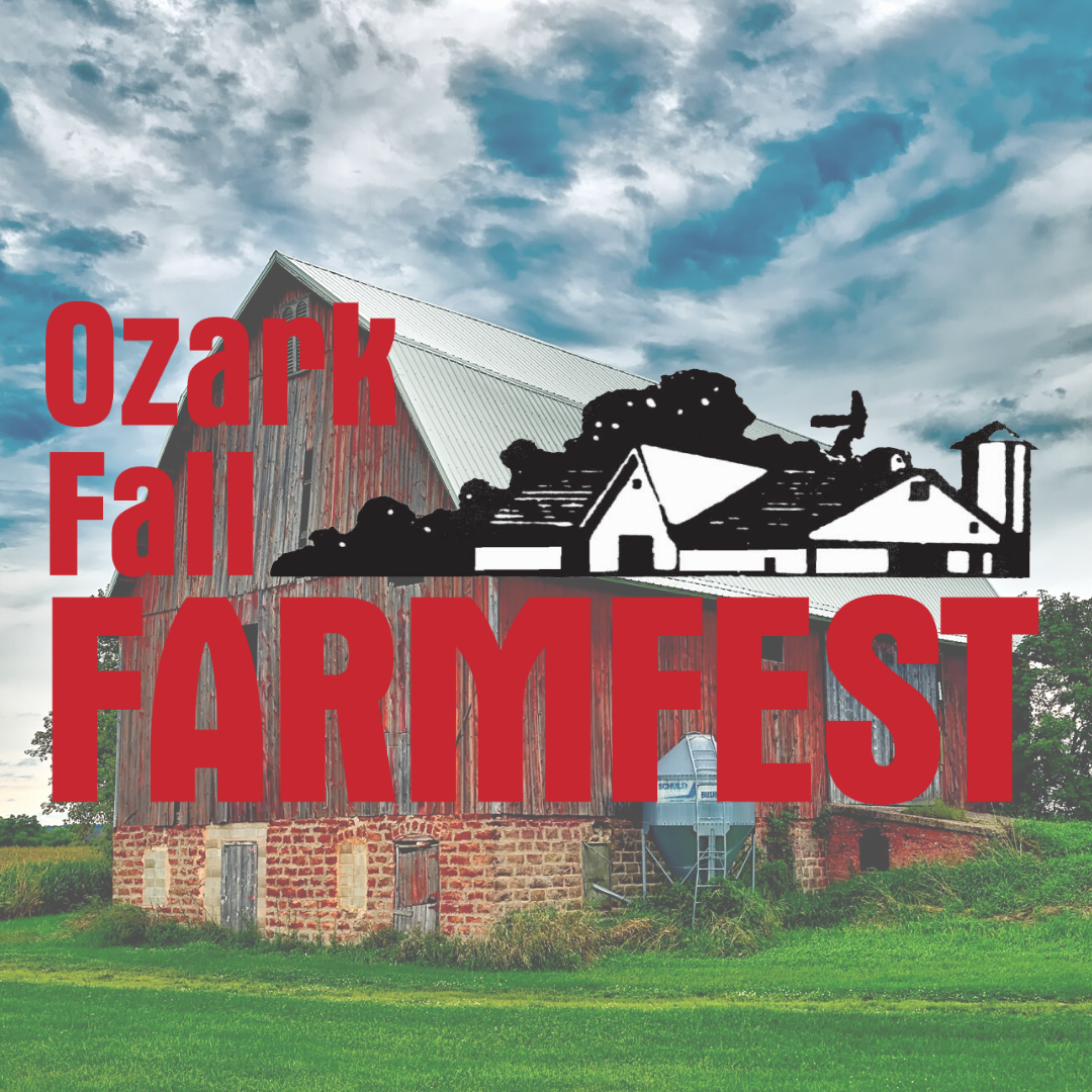 Ozark Fall Farmfest logo with a red barn in the background