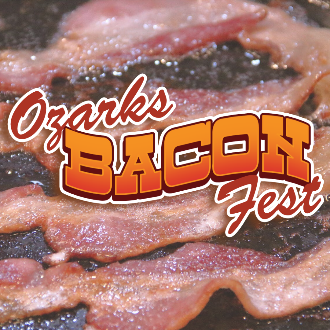 Ozarks Bacon Fest logo with frying bacon in the background