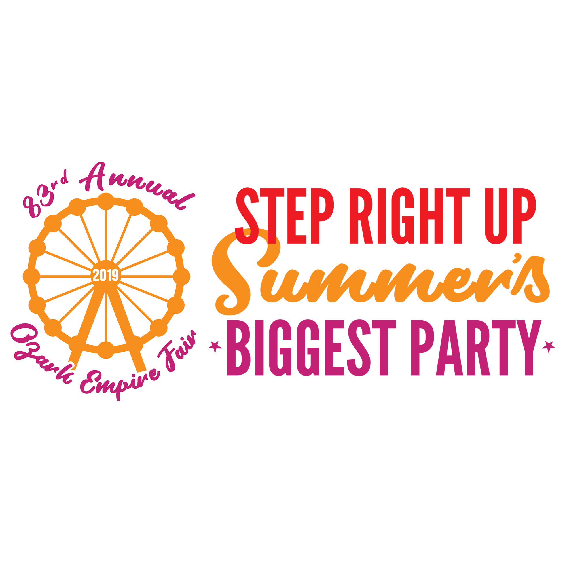 2019 Ozark Empire Fair Step Right Up Summer's Biggest Party Logo