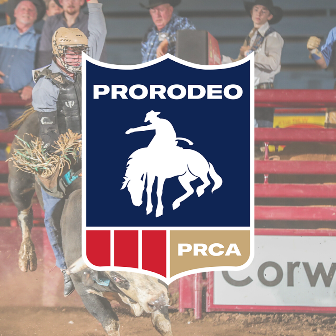 PRCA Pro Rodeo logo with a man riding a bucking bull in the background