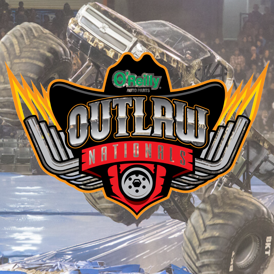 O'Reilly Outlaw nationals logo with a jumping monster truck in the background