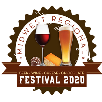 Beer Wine Cheese & Chocolate Festival logo. Beer glass, Wine glass, cheese wedge, and piece of chocolate.